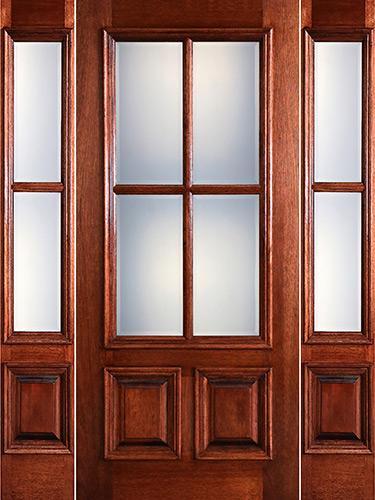 Preston 4-Lite Low-E 2-Panel Raised Mahogany Prehung Wood Door Unit with Sidelites