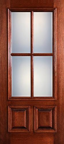 Preston 4-Lite Low-E 2-Panel Raised Mahogany Wood Door Slab
