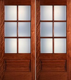 Preston 6-Lite Low-E 1-Panel Mahogany Prehung Wood Double Door Unit