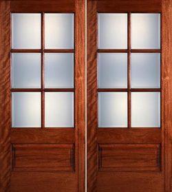 Preston 6-Lite Low-E 1-Panel Mahogany Prehung Wood Double Door Unit