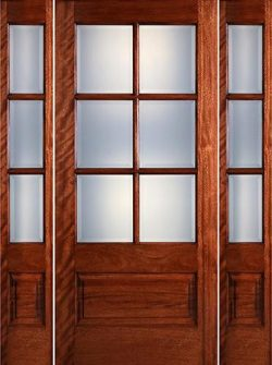 Preston 6-Lite Low-E 1-Panel Mahogany Prehung Wood Door Unit with Sidelites