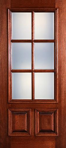 Preston 6-Lite Low-E 2-Panel Raised Mahogany Wood Door Slab