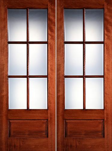 """Preston 8'0"""" Tall 6-Lite Low-E 1-Panel Mahogany Prehung Wood Double Door Unit"""