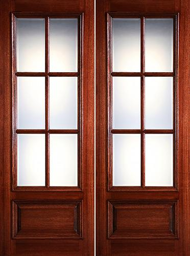 "Preston 8'0"" Tall 6-Lite Low-E 1-Panel Raised Mahogany Prehung Wood Double Door Unit"
