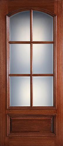 """Preston 42"""" x 8'0"""" 6-Lite Low-E Square Top Mahogany Wood Door Slab"""