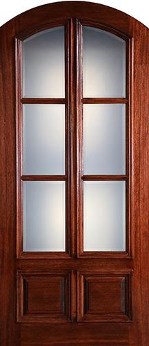 "Preston 42"" x 8'0"" 6-Lite Low-E 2-Panel Raised Wide Mullion Arch Top Mahogany Wood Door Slab"