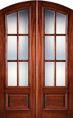 "Preston 8'0"" Tall 6-Lite Low-E Mahogany Arch Top Prehung Double Wood Door Unit"