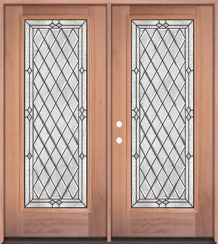 Diamond Full Lite Mahogany Wood Double Door Unit #294