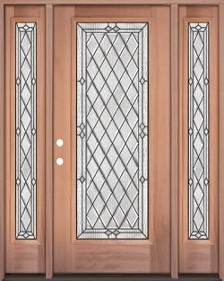 Diamond Full Lite Mahogany Wood Door Unit with Sidelites #294