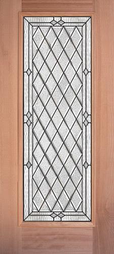 Diamond Full Lite Mahogany Wood Door Slab #294