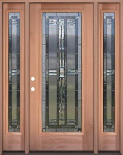 Full Lite Mahogany Wood Door Unit with Sidelites #297
