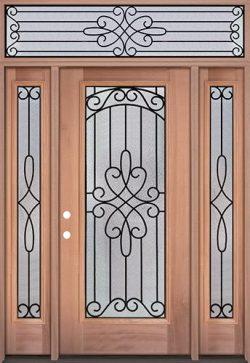Full Lite Mahogany Wood Door Unit with Transom #299