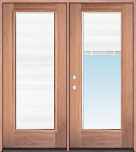 Full Mini-blind Mahogany Wood Double Door Unit