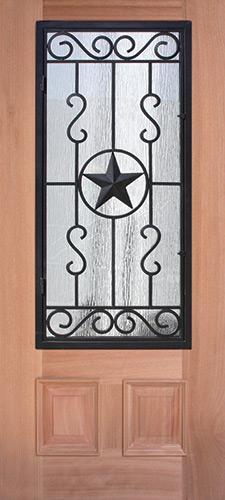3/4 Iron Grille Texas Star Mahogany Wood Door Slab #75