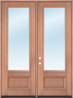 "8'0"" Tall 3/4 Lite Clear Low-E Mahogany Wood Double Door Unit"