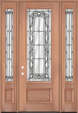 "8'0"" Tall 3/4 Lite Mahogany Wood Door Unit with Sidelites #292"