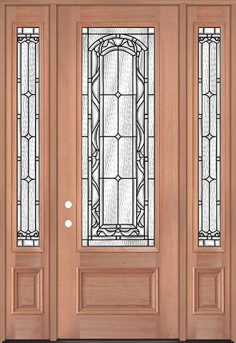 "8'0"" Tall 3/4 Lite Mahogany Wood Door Unit with Sidelites #292"