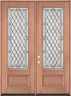 """8'0"""" Tall Diamond 3/4 Lite Mahogany Wood Double Door Unit #294"""