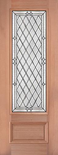 """8'0"""" Tall Diamond 3/4 Lite Mahogany Wood Door Slab #294"""