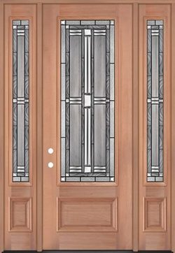 "8'0"" Tall 3/4 Lite Mahogany Wood Door Unit with Sidelites #297"