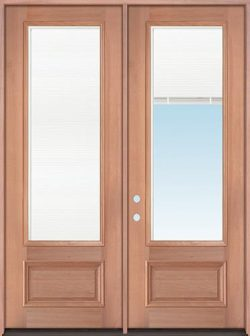 "8'0"" Tall 3/4 Mini-blind Mahogany Wood Double Door Unit"