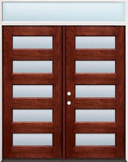Modern 5-Lite Mahogany Prehung Wood Double Door Unit with Transom #305