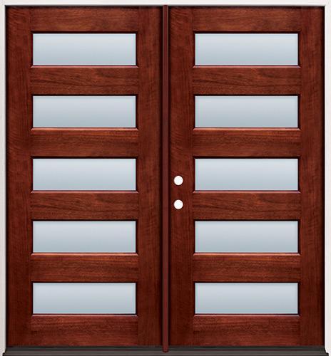 Modern 5-Lite Mahogany Prehung Double Wood Door Unit #305