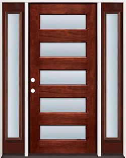 Modern 5-Lite Mahogany Prehung Wood Door Unit with Sidelites #305
