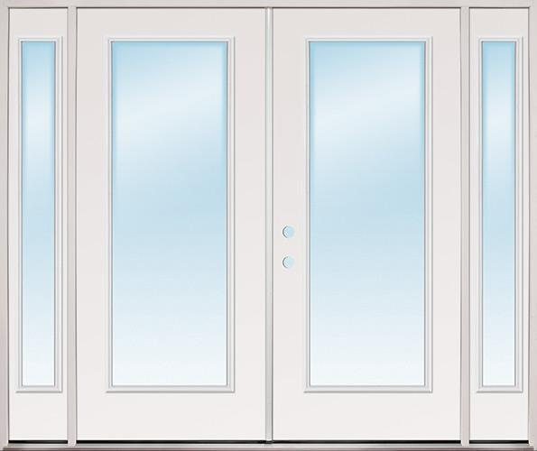 """8'0"""" Wide Full Lite Steel Patio Prehung Double Door Unit with Sidelites"""