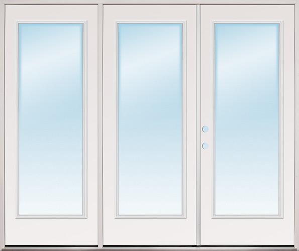 """8'0"""" Wide Full Lite Steel Patio Prehung Triple Door Unit"""