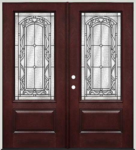 3/4 Lite Pre-finished Mahogany Fiberglass Prehung Double Door Unit #272