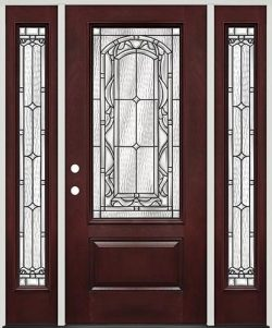 3/4 Lite Pre-finished Mahogany Fiberglass Prehung Door Unit with Sidelites #272