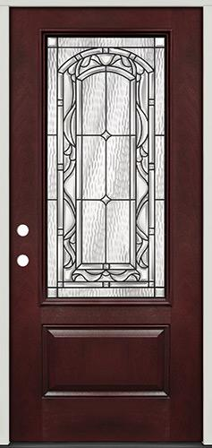 3/4 Lite Pre-finished Mahogany Fiberglass Prehung Door Unit #272