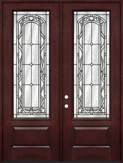 "8'0"" Tall 3/4 Lite Pre-finished Fiberglass Double Door Unit #292"