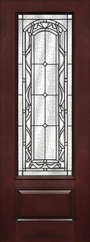"8'0"" Tall 3/4 Lite Pre-finished Fiberglass Wood Door Slab #292"