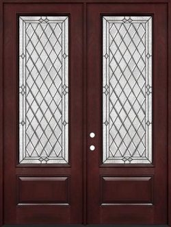 "Diamond 8'0"" Tall 3/4 Lite Pre-finished Fiberglass Double Door Unit #294"
