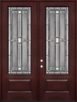 "8'0"" Tall 3/4 Lite Pre-finished Fiberglass Double Door Unit #297"