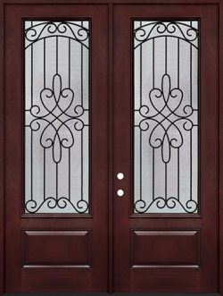 "8'0"" Tall 3/4 Lite Pre-finished Fiberglass Double Door Unit #299"