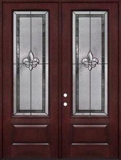 """Fleur-de-lis 8'0"""" Tall 3/4 Lite Pre-finished Fiberglass Double Door Unit #84"""