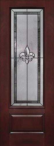 "Fleur-de-lis 8'0"" Tall 3/4 Lite Pre-finished Fiberglass Wood Door Slab #84"