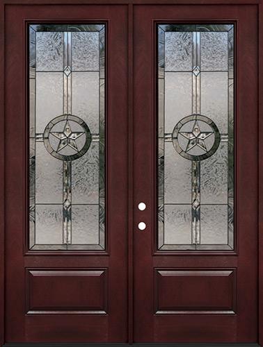 "Texas Star 8'0"" Tall 3/4 Lite Pre-finished Fiberglass Double Door Unit #90"