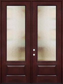 "Privacy Glass 8'0"" Tall 3/4 Lite Pre-finished Fiberglass Double Door Unit"