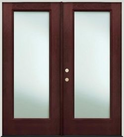 Privacy Glass Full Lite Pre-finished Mahogany Fiberglass Prehung Double Door Unit