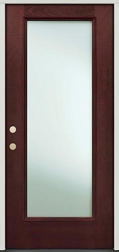 Privacy Glass Full Lite Pre-finished Mahogany Fiberglass Prehung Door Unit