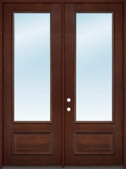 "8'0"" Tall 3/4 Lite Clear Low-E Pre-finished Mahogany Wood Double Door Unit"