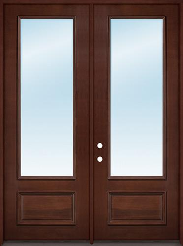 """8'0"""" Tall 3/4 Lite Clear Low-E Pre-finished Mahogany Wood Double Door Unit"""