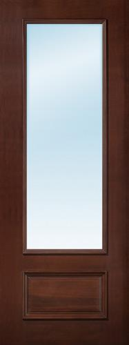 "8'0"" Tall 3/4 Lite Clear Low-E Pre-finished Mahogany Wood Door Slab"