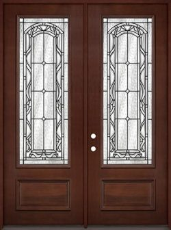 "8'0"" Tall 3/4 Lite Pre-finished Mahogany Wood Double Door Unit #292"