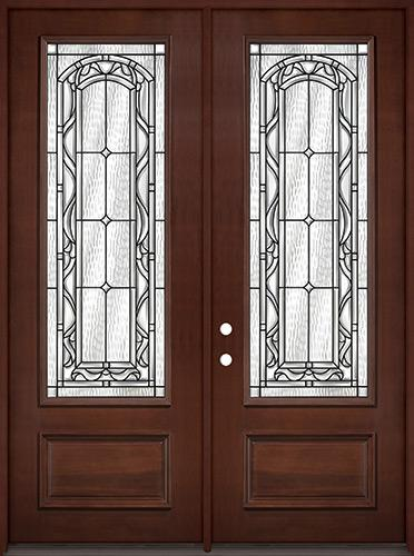 """8'0"""" Tall 3/4 Lite Pre-finished Mahogany Wood Double Door Unit #292"""