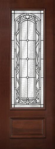 "8'0"" Tall 3/4 Lite Pre-finished Mahogany Wood Door Slab #292"